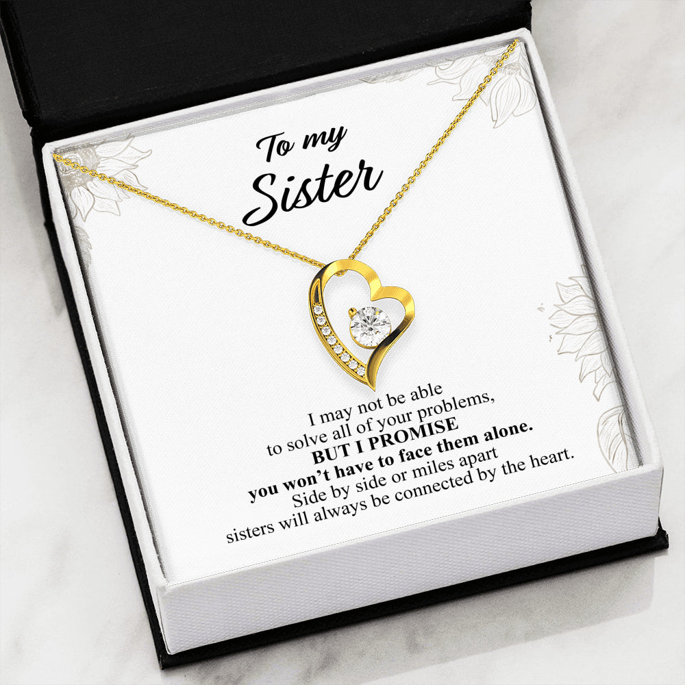 Sisters will Always be Connected by Heart Necklace