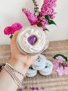 Sunbeam Whipped Body Butter Topped with an Amethyst Crystal | Moonlight Scent