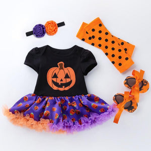 "[Fröhliches Halloween] 4Pcs Halloween Pumpkin Dress for 20""-22"" Reborn Baby"