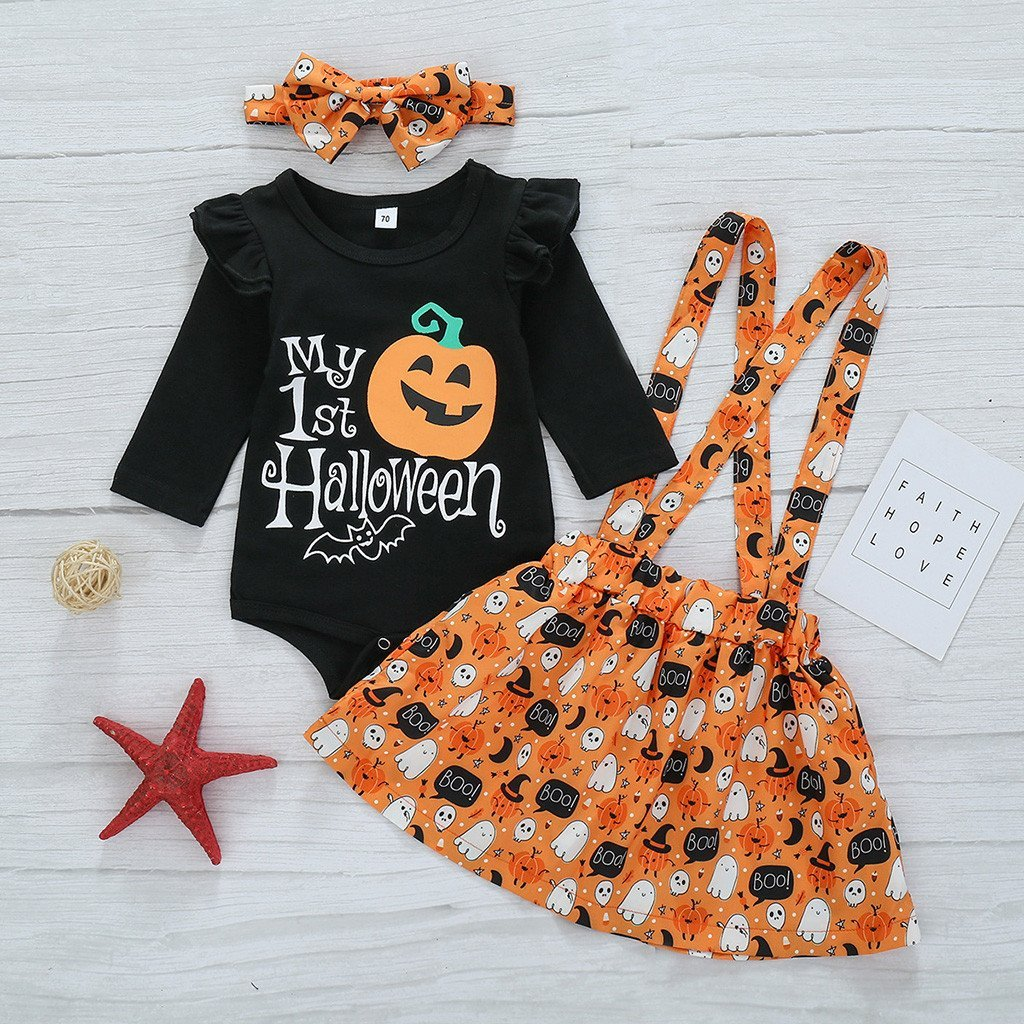 4 Pcs Halloween Pumpkin Bat Clothes for 20
