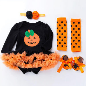"4 Pcs Long Sleeve Halloween Bow Dress Suit for 20""- 22"" Reborn Baby"