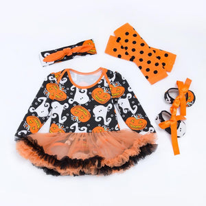 "[Fröhliches Halloween] 4 Pcs Long Sleeve Halloween Ghost Dress Suit for 20""-22"" Reborn Baby"