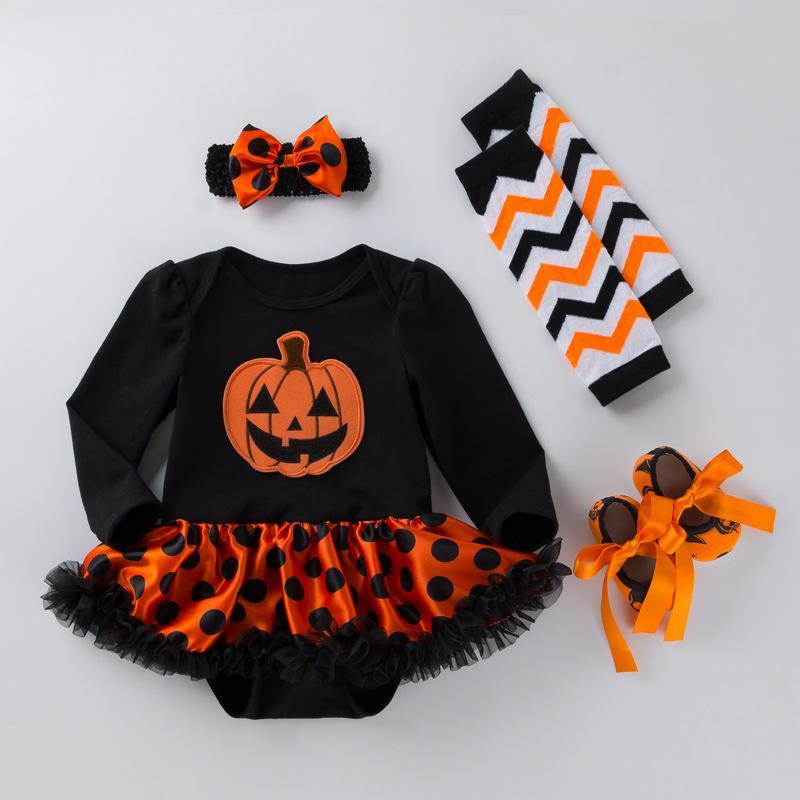 4 Pcs Long Sleeve Halloween Dots Dress Suit for 20