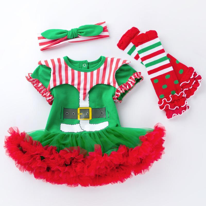 3 Pcs Short Sleeve Xmas Dress Suit for 20