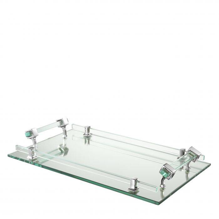 Clear glass rectangular tray