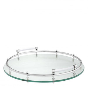 Clear glass round tray