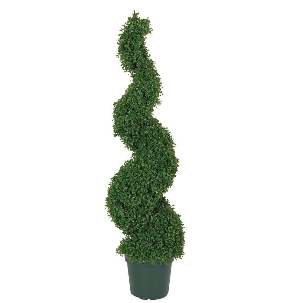Green Outdoor Spril Box Topiary in Green Plastic Pot