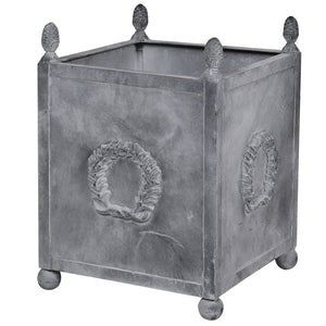 Square Iron Planter with wreath