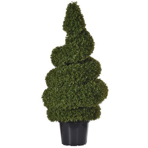 Green Outdoor Tight Spiral Box Topiary in Black Plastic Pot