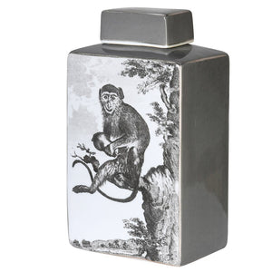 Monkey Decoration Lidded Jar