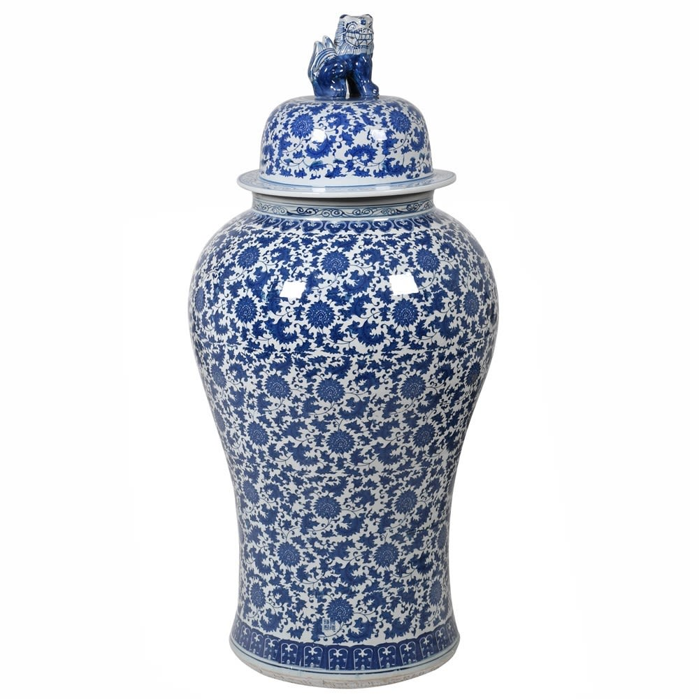 Tall Blue & White Chinoisery Temple Jar