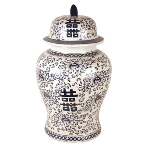Dark Blue and White Temple Jar