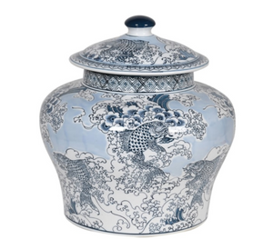 Chinese Carp Lidded Jar