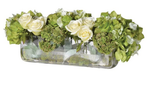 Lime/cream Hydrangea/rose/sedum Arrangement in Low Oblong Glass Vase