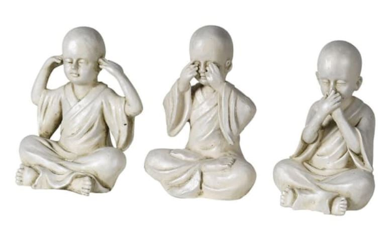 Set of 3 Ceramic No Evil Monks