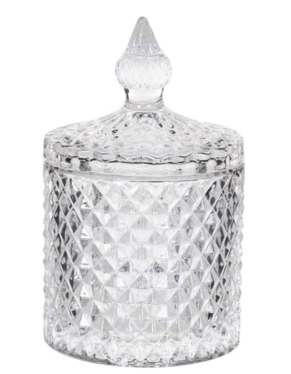 Small Cut Glass Jar with Lid