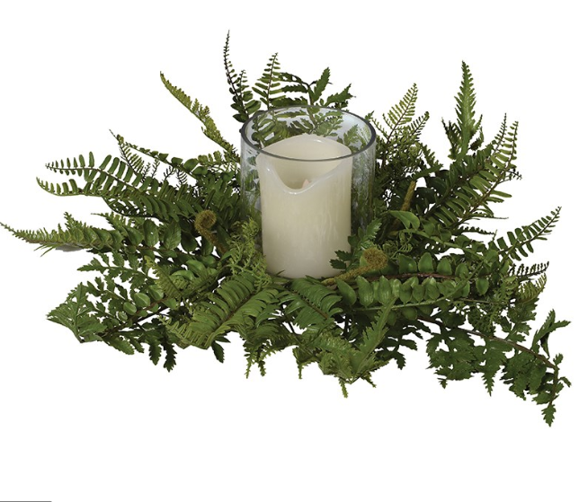 Boston Fern Candle Ring with Glass Candleholder