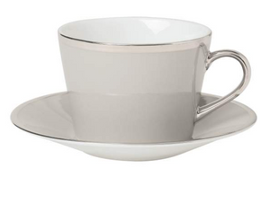 Breakfast cup & saucer, grey with silver trim