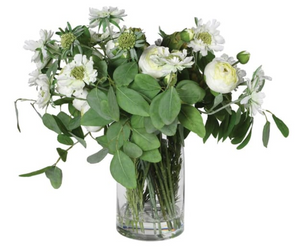 Eucalyptus and Ranunculus in Glass Vase
