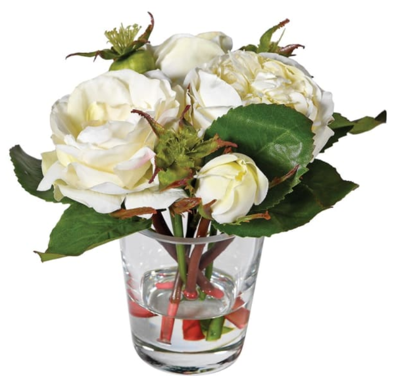Cream and Green Roses in Glass Tumbler