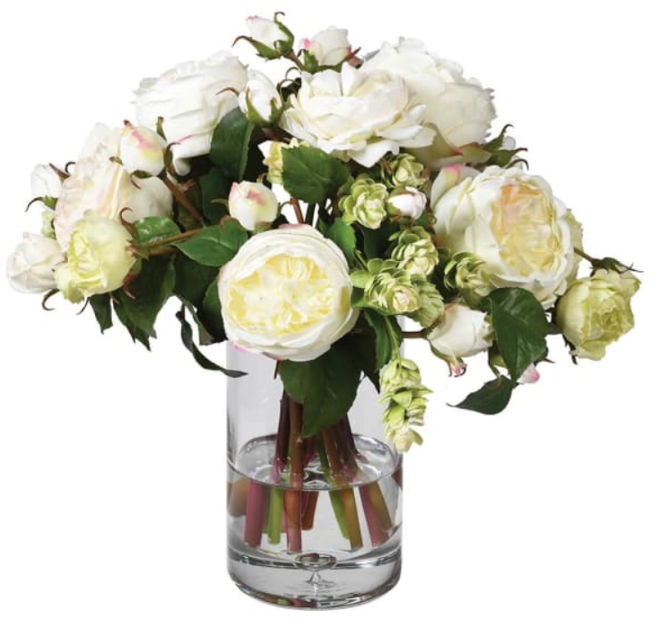 White Rose and Hops Arrangement in Glass