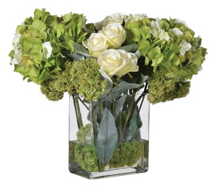 Lime Hydrangea, Rose and Sedum Arrangement in Tall Oblong Glass Vase