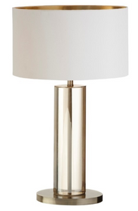Lisle Tall Cognac Crystal Antique Brass Table Lamp