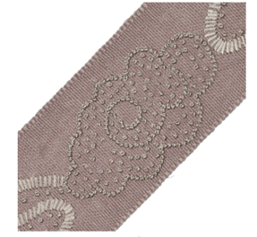 Taupe Trim - China Cloud Embroidered Border
