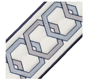Blue Trim - Milo Embroidered Border