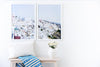 Annawithlove Shop, Home Decor, Gallery Wall, Fill your wall with beautiful Fira Town, Santorini.  Cascading white washed houses overlooking the beautiful ocean, the perfect view to wake up to.