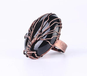 Healing Gemstone Tree of Life Ring