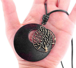 Ethnic Wood Tree of Life Necklace