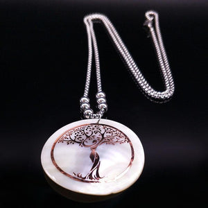 White Shell Tree of Life Necklace