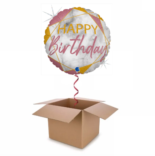 Pink & Gold Glitter Holographic Marble Happy Birthday Balloon In A Box