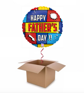 Red, Yellow & Blue Fathers Day Balloon In A Box