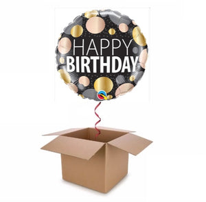 Silver, Gold, Rose Gold Happy Birthday Balloon In A Box