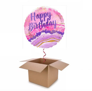 Pink and Purple Geode Happy Birthday Balloon In A Box