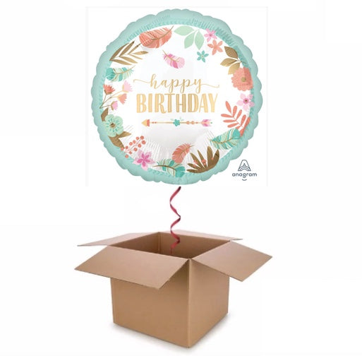 Boho Floral Happy Birthday Balloon In A Box