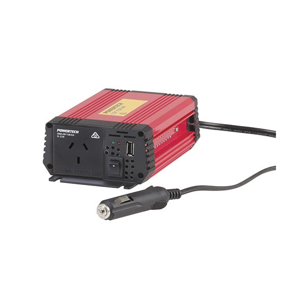POWERTECH 150W (450W Surge) 12VDC to 230VAC Modified Sinewave Inverter with USB