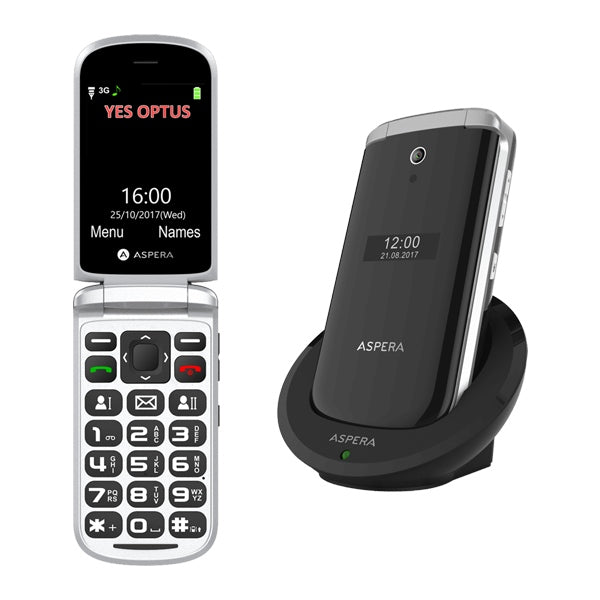 ASPERA F28 Flip Mobile Phone with Charging Cradle - NETWORK UNLOCKED