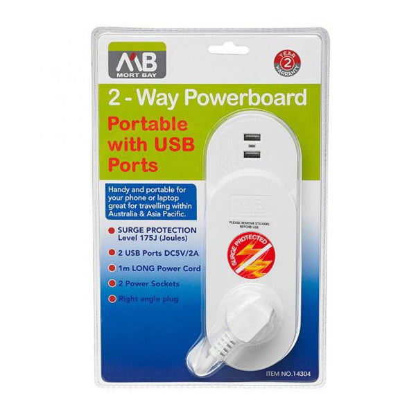 MORT BAY 2-Way Portable Powerboard with USB Ports