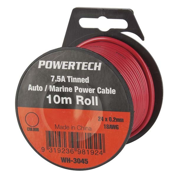 POWERTECH Red Heavy Duty 7.5A General Purpose Cable Handy Pack