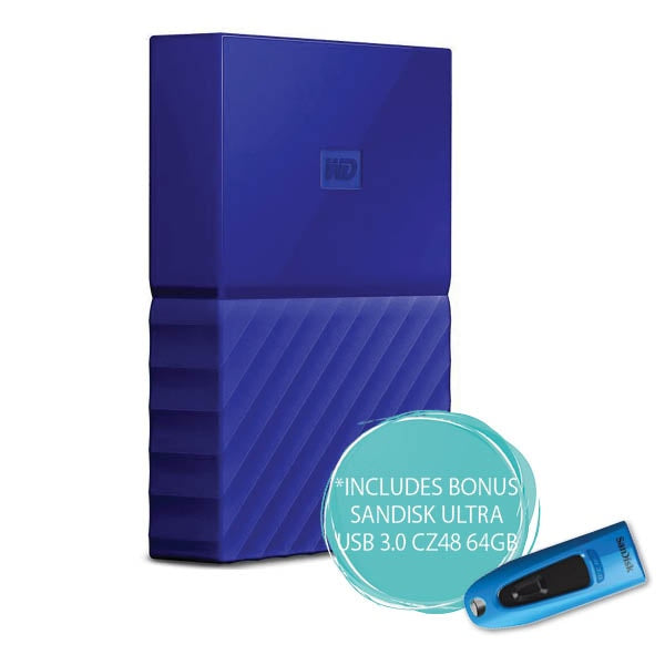 WD 2TB My Passport Portable Hard Drive (Blue)
