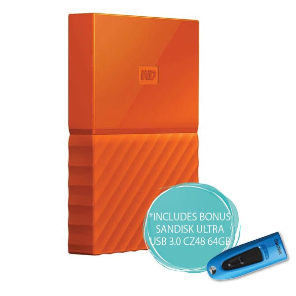 WD 2TB My Passport Portable Hard Drive (Orange)