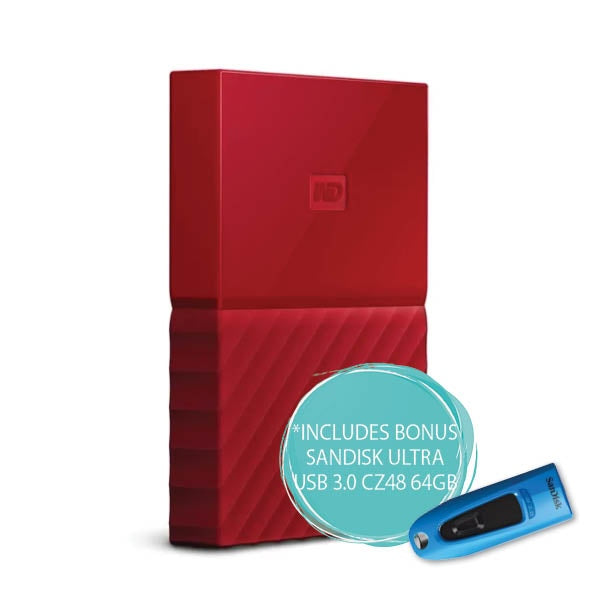 WD 2TB My Passport Portable Hard Drive (Red)