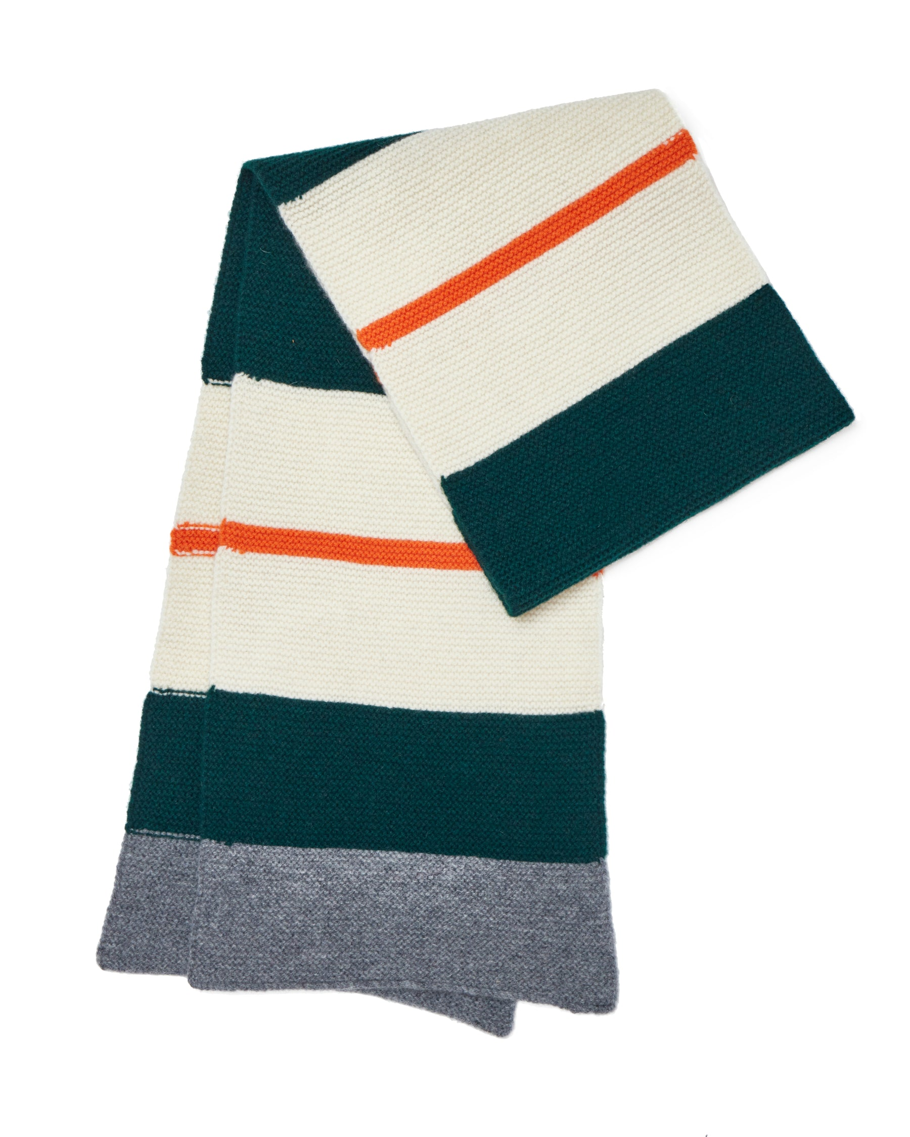 LINKS COLLEGE STRIPE SCARF • ECRU