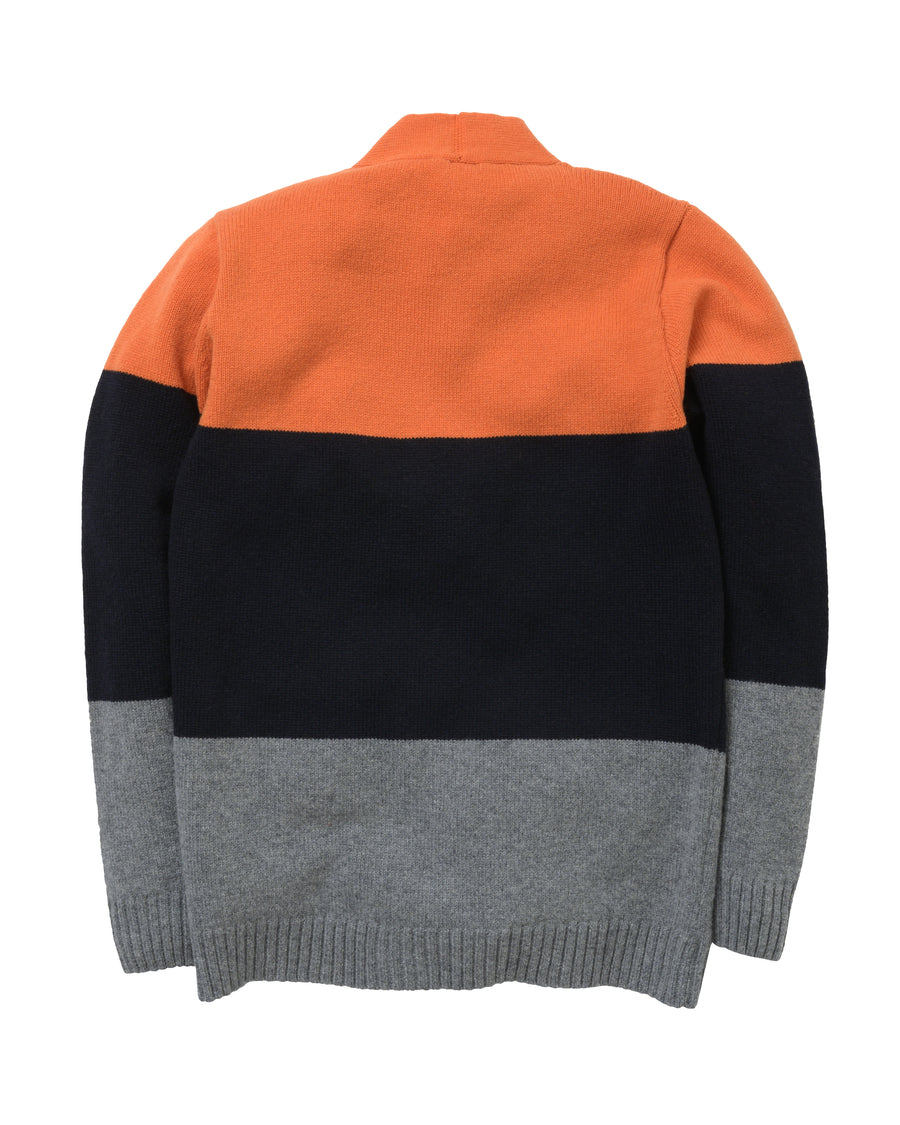Tri-Stripe Cardigan Lambswool • Orange