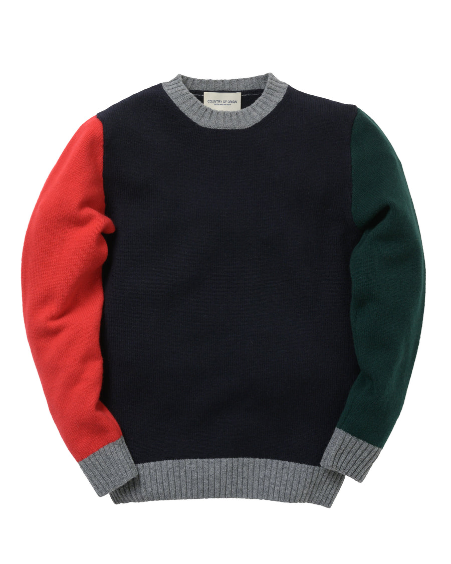 Tricolour Lambswool Crew • Navy