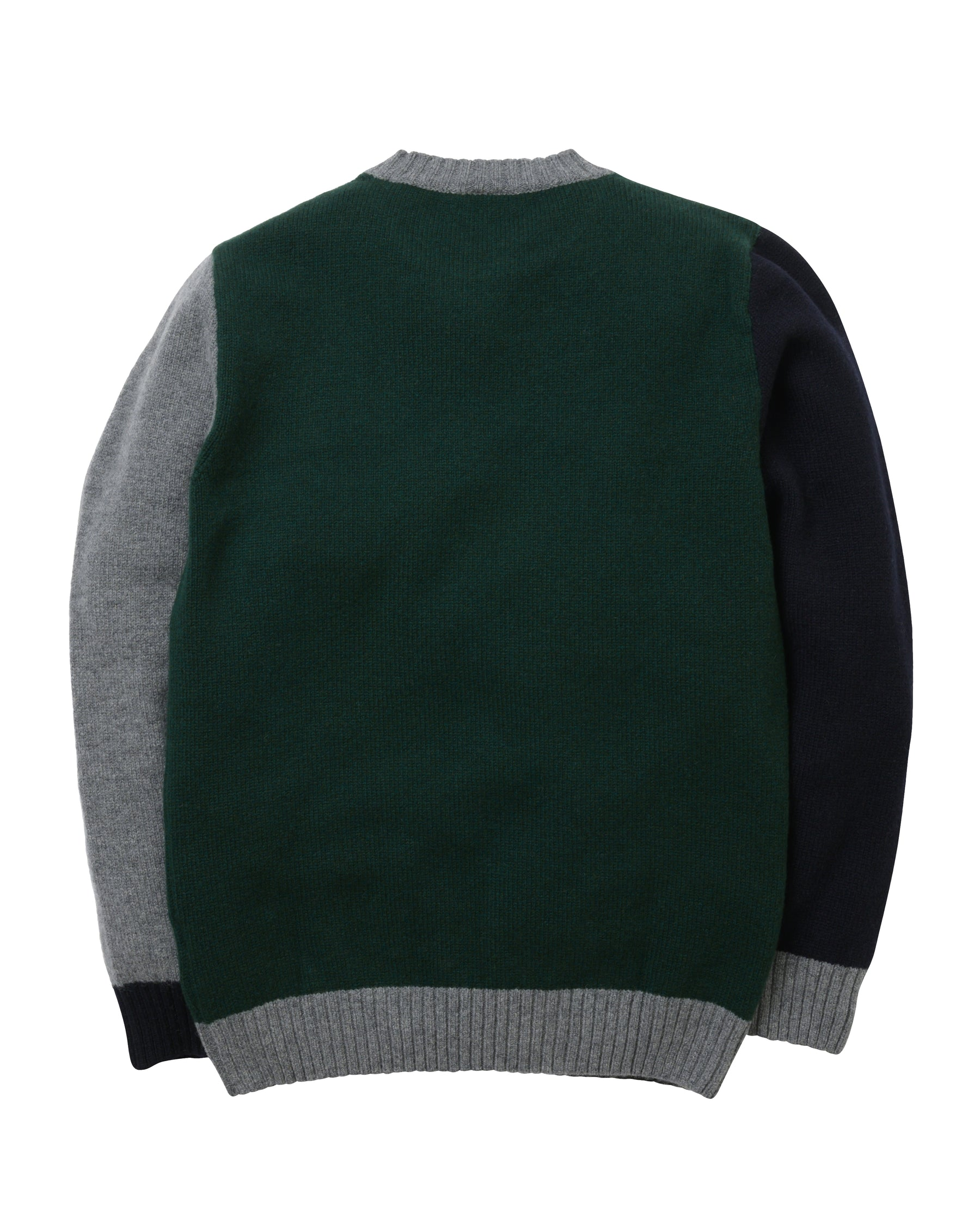 Tricolour Lambswool Crew • Green