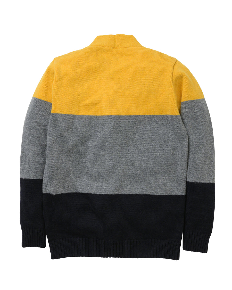 Tri-Stripe Cardigan Lambswool • Yellow